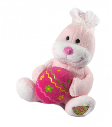Doudou peluche Paques Lapin blanc Oeuf rose 22 cm Gipsy Sonore Musical