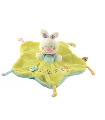Peluche doudou plat vert Lapin abeille Nicotoy 579/0098