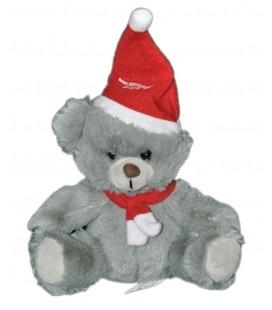 Peluche doudou ours gris BUFFALO GRILL Echarpe Bonnet rouge 15 cm