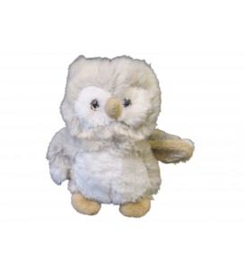 Peluche Hibou beige gris blanc Ajena 22 cm