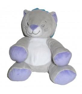 Doudou Chat lion gris bleu mauve Luc et Lea 16 cm
