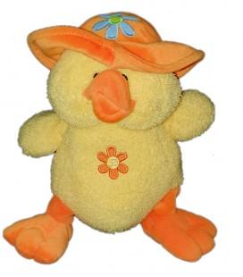 Peluche doudou Canard jaune chapeau orange Fleur Gipsy Sonore fait Coin Coin 22