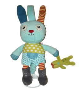 Doudou lapin bleu musical Pommette 28 cm petit bebe lapin vert