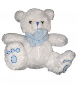 Peluche doudou Ours blanc bleu Nounours assis 22 cm