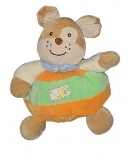 Doudou peluche Lapin chien vert beige orange cube 26 cm
