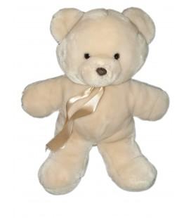 Peluche ours beige Nounours 38 cm ruban satiné
