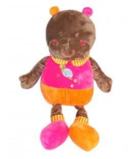 Peluche doudou Hippopotame rose orange Escargot Althans Club 50 cm
