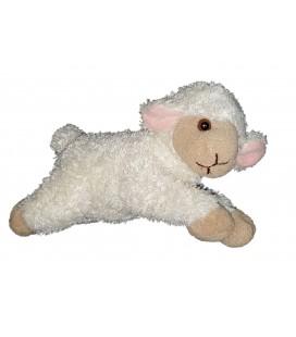Peluche doudou Mouton Agneau blanc beige oreilles roses Maison du Monde allongé 23 cm