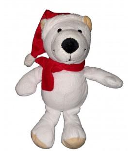 Peluche doudou Ours blanc Bonnet rouge Ferrero 26 cm Kinder
