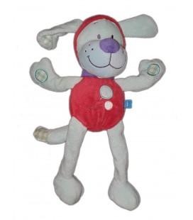 Peluche doudou chien bleu rouge TEX Baby 30 cm