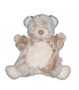 Doudou marionnette ours blanc beige marron chine Tex Baby Carrefour