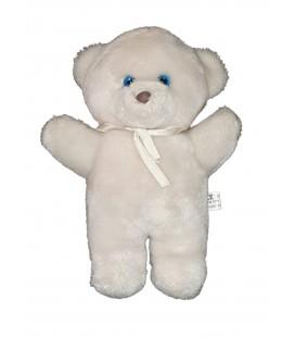 Peluche vintage ours blanc ruban yeux bleux nez marron 28 cm JOUMECA