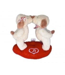 NE FONCTIONNE PLUS - Peluche Saint Valentin 2 Ours Oursons musical blancs coeur 16 cm