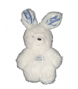 Peluche doudou Lapin blanc bleu Tartine et Chocolat 25 cm