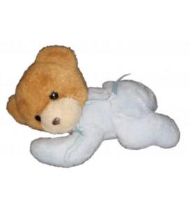 Peluche doudou ours marron bleu allongé Ruban Nounours 22 cm