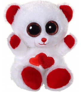 Peluche Ours blanc rouge coeurs Gipsy 14 cm