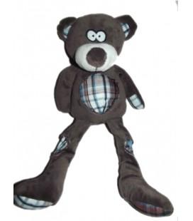 Peluche doudou Ours brun gris fonéé carreaux bleus 35 cm CA Crédit Agricole Centre France