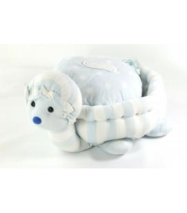 Peluche Doudou tissu Tortue bleu blanche Jacadi Coussin 28 cm
