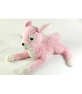 Ancienne peluche doudou Bambi Faon Biche rose blanc 30 cm Nounours Boulgom ?