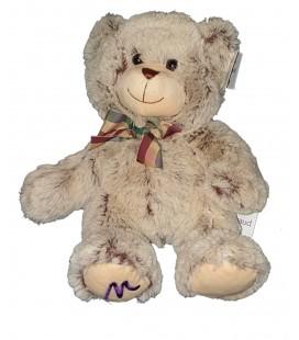 Peluche ours beige marron noeud Marionnaud 32 cm