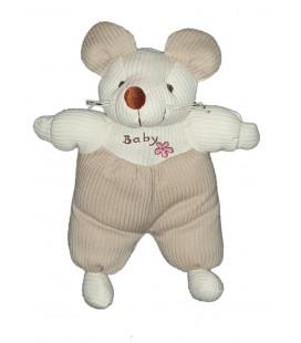 Peluche doudou Souris blanche beige Fleur Baby 32 cm Maxita