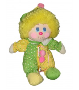 Doudou ancien vintage tissu clown vert jaune pois 25 cm environ