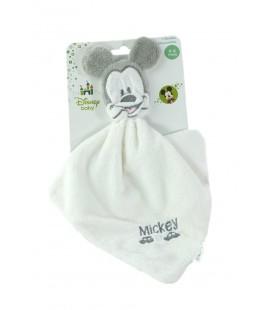 Doudou plat Mickey blanc gris voitures Cartoon Club Disney