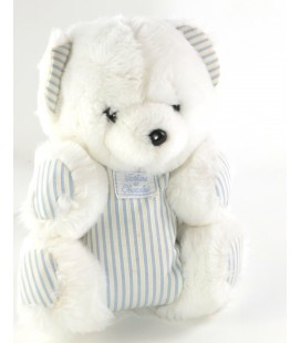 Peluche Ours blanc bleu rayures 20 cm TARTINE ET CHOCOLAT