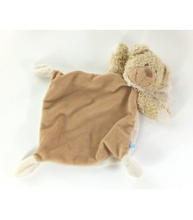Doudou plat ours beige blanc echarpe Tex Baby