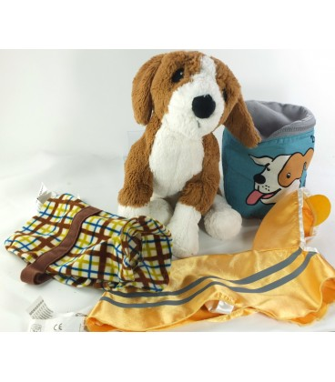 Doudou peluche chien Beagle noir marron blanc IKEA Gosig Valp