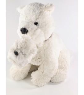 Peluche doudou Chien blanc et son bébé Jours Heureux 35 cm