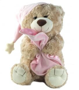 """Peluche Ours beige bonnet rose Couverture mouchoir 36 cm Toys""""R""""us"""