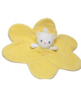 Doudou ours plat jaune Luminou Jemini abeille