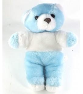 Doudou peluche Ours blanc bleu Vintage Ancien nounours 30 cm