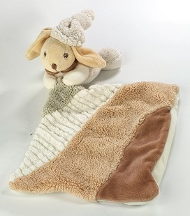 Kaloo Doudou Lapin Mouchoir couverture marron beige blanc sable Grelot Nature
