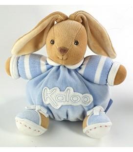 Doudou Lapin Kaloo bleu blanc rayures 16 cm