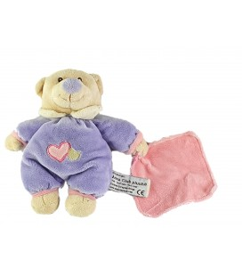Doudou Ours mauve Mouchoir rose 18 cm Anna Club Plush