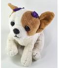 Peluche doudou Chien blanc marron Chiuahua noeuds violets 18 cm Anna Club Plush