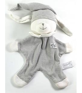 Doudou plat ours blanc gris ABC Ours bonnet Grelot Anna Club Plush