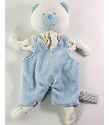 Doudou plat ours blanc bleu Grelot Anna Club Plush
