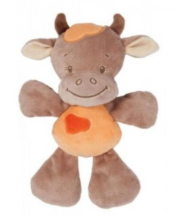 Doudou semi plat Vache Little garden marron orange NATTOU 26 CM