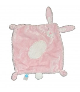 Doudou plat lapin rose Ventre rond blanc TEX Baby