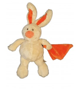 Peluche doudou lapin beige Mouchoir Orange Anna Club Plush 25 cm