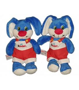 Lot de 2 - Doudou peluche Lapin bleu rouge Salopette Kinder 25 cm