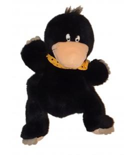 Peluche Marionnette Taupe Noire foulard jaune pois Nici 30 cm