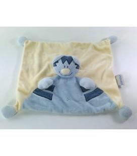 Doudou plat Chat Tigre bleu jaune Nattou