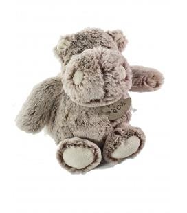 Peluche Doudou Hippopotame marron chiné HO2353 Z'animos Hippo Boule PM Histoire D Ours 18 cm