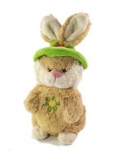 Doudou peluche Sonore Lapin beige Fleur chapeau vert Gipsy 22 cm