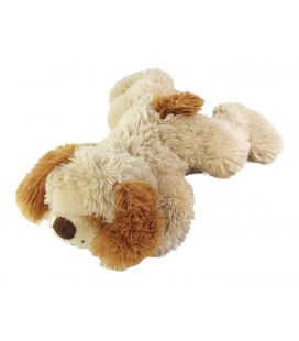 Doudou peluche chien allongé couché creme roux jaune Gipsy 36 cm