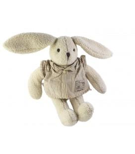 Doudou Peluche Lapin blanc beige La Bande à Basile Moulin Roty 32 cm